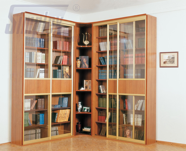 Купить книжные шкафы и библиотеки в москве со стеклянными дв.